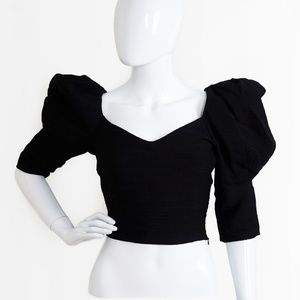 ZARA Black Voluminous Puff Ballon Sleeve Top XS